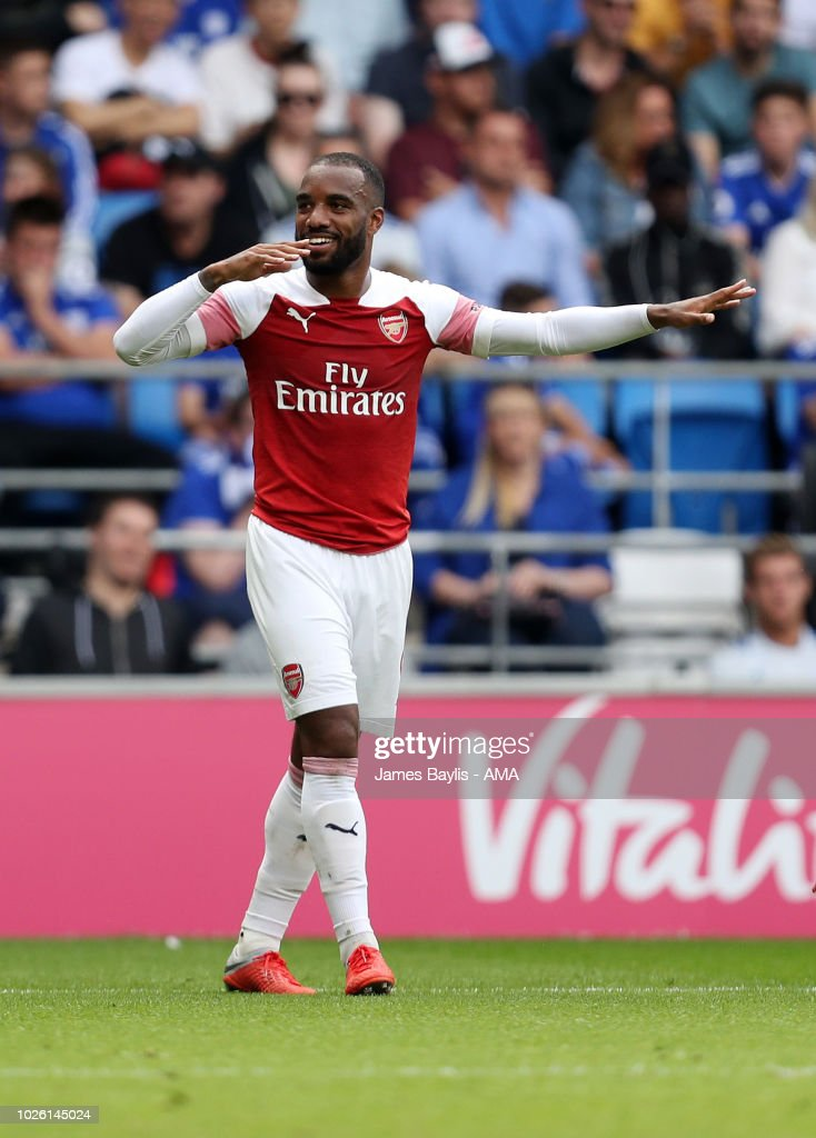 Alexandre Lacazette of Arsenal celebrates after scoring a goal to make it 2-3 during the Premier League match between Cardiff City and Arsenal FC at Cardiff City Stadium on September 2, 2018 in Cardiff, United Kingdom.