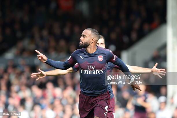Alexandre Lacazette of Arsenal celebrates after scoring a goal to make it 21 during the Premier League match between Fulham FC and Arsenal FC at...