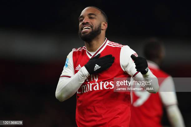 Alexandre Lacazette of Arsenal celebrates after scoring a goal to make it 4-0 during the Premier League match between Arsenal FC and Newcastle United...