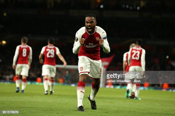 Alexandre Lacazette of Arsenal celebrates after scoring a goal to make it 10 during the UEFA Europa League Semi Final leg one match between Arsenal...