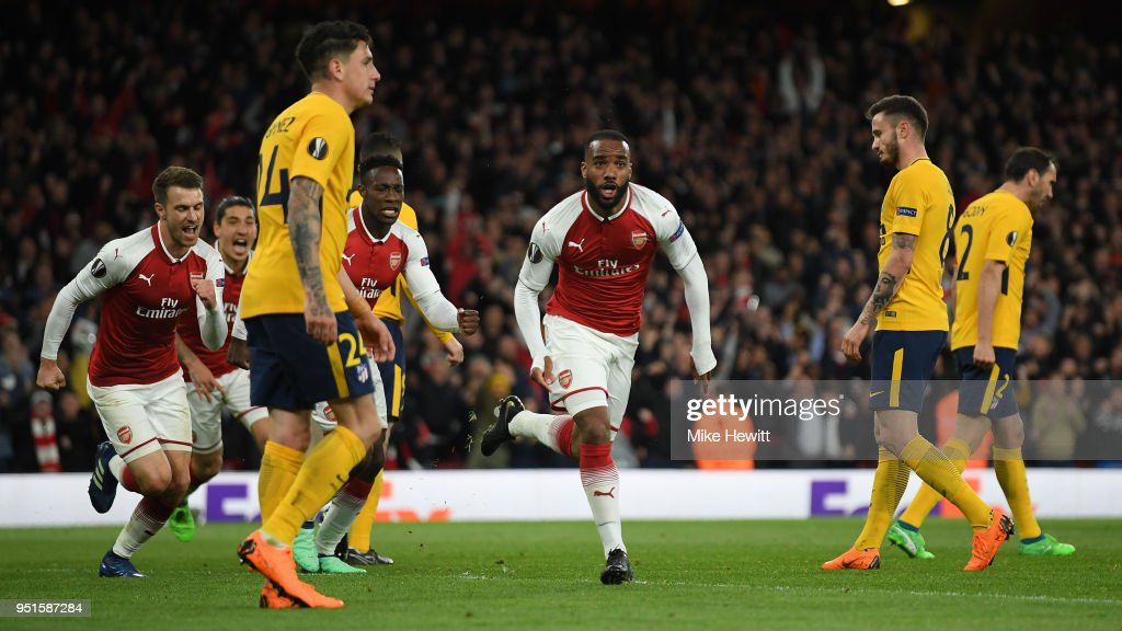 Alexandre Lacazette of Arsenal celebrates after scoring during the UEFA Europa League Semi Final leg one match between Arsenal FC and Atletico Madrid at Emirates Stadium on April 26, 2018 in London, United Kingdom.