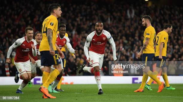 Alexandre Lacazette of Arsenal celebrates after scoring during the UEFA Europa League Semi Final leg one match between Arsenal FC and Atletico Madrid...