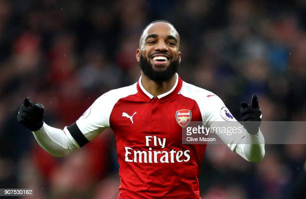 Alexandre Lacazette of Arsenal celebrates after scoring his sides fourth goal during the Premier League match between Arsenal and Crystal Palace at...