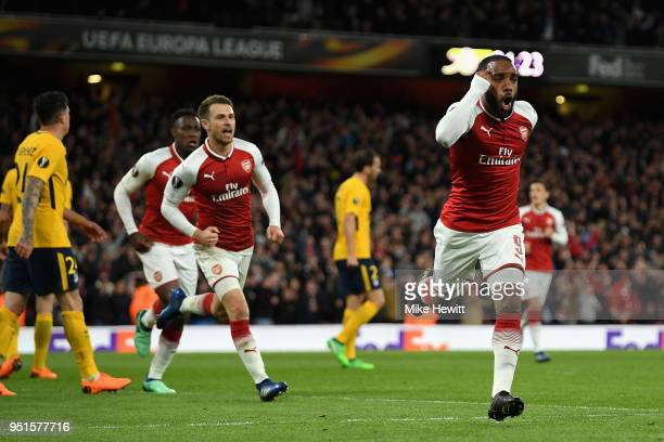 Alexandre Lacazette of Arsenal celebrates after scoring his sides first goal during the UEFA Europa League Semi Final leg one match between Arsenal...