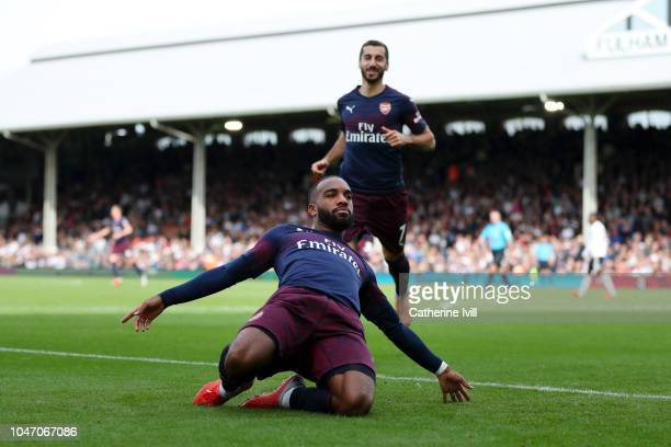 Alexandre Lacazette of Arsenal celebrates after scoring his team's second goal during the Premier League match between Fulham FC and Arsenal FC at...