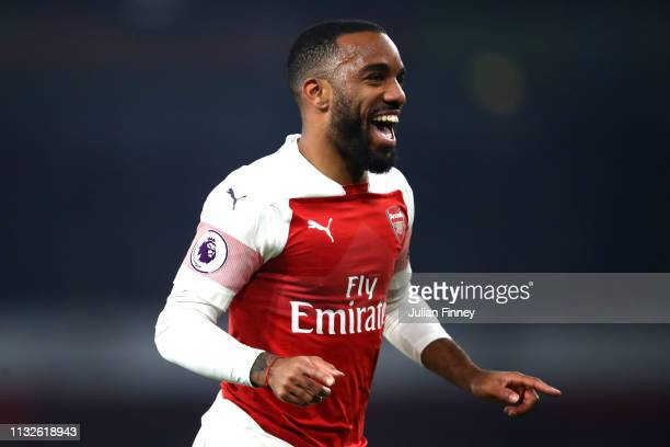 Alexandre Lacazette of Arsenal celebrates after scoring his team's fifth goal during the Premier League match between Arsenal FC and AFC Bournemouth...