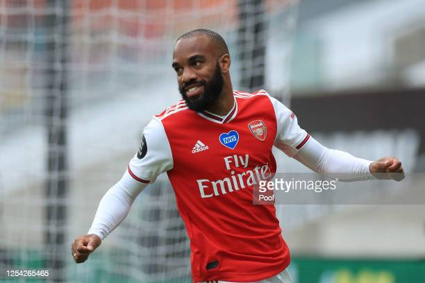 Alexandre Lacazette of Arsenal celebrates after scoring his team's second goal during the Premier League match between Wolverhampton Wanderers and...
