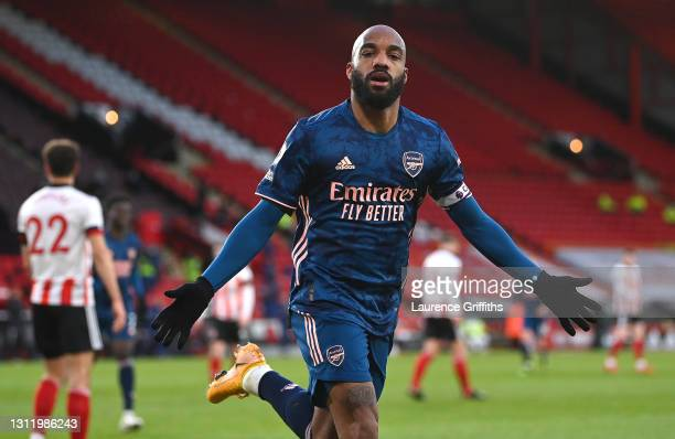 Alexandre Lacazette of Arsenal celebrates after scoring their side's first goal during the Premier League match between Sheffield United and Arsenal...