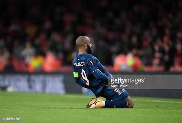 Alexandre Lacazette of Arsenal celebrates after scoring their team's first goal during the UEFA Europa League Group B stage match between Arsenal FC...