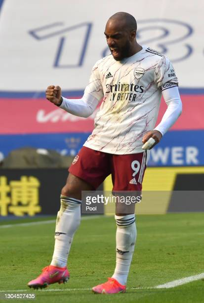 Alexandre Lacazette of Arsenal celebrates after scoring their team's second goal during the Premier League match between Leicester City and Arsenal...