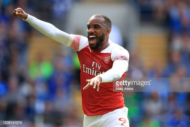 Alexandre Lacazette of Arsenal celebrates during the Premier League match between Cardiff City and Arsenal FC at Cardiff City Stadium on September 2...