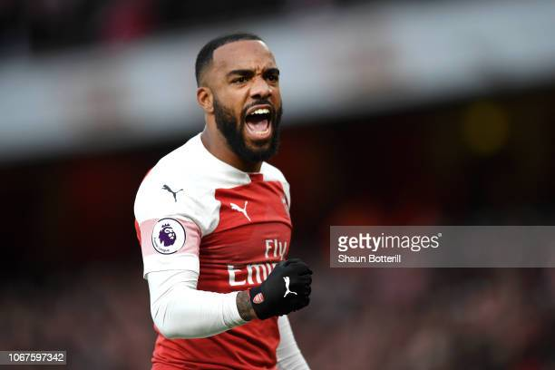 Alexandre Lacazette of Arsenal celebrates during the Premier League match between Arsenal FC and Tottenham Hotspur at Emirates Stadium on December 1...