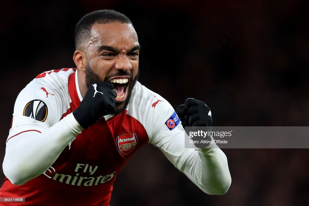 Alexandre Lacazette of Arsenal celebrates during the UEFA Europa League quarter final leg one match between Arsenal FC and CSKA Moskva at Emirates Stadium on April 5, 2018 in London, United Kingdom.