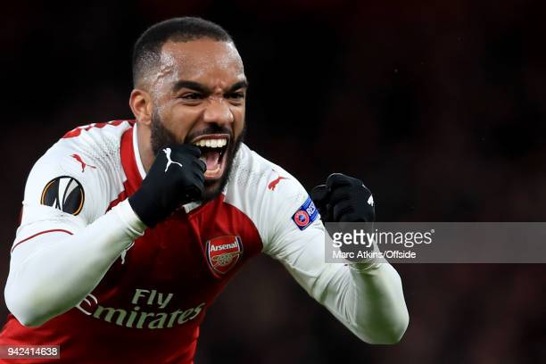 Alexandre Lacazette of Arsenal celebrates during the UEFA Europa League quarter final leg one match between Arsenal FC and CSKA Moskva at Emirates...