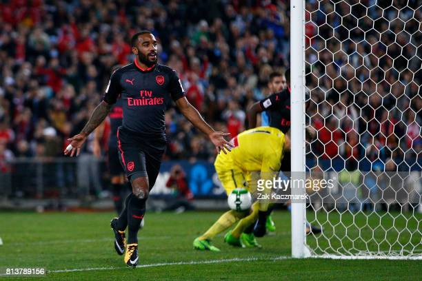 Alexandre Lacazette of Arsenal celebrates scoring a goal during the match between Sydney FC and Arsenal FC at ANZ Stadium on July 13 2017 in Sydney...