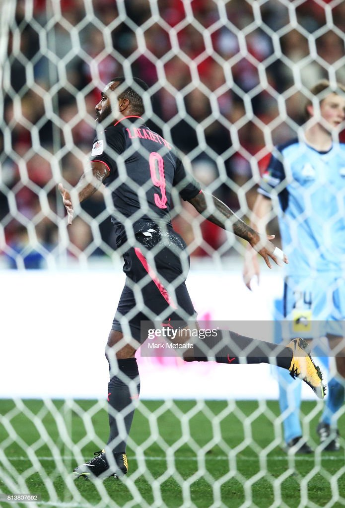 Alexandre Lacazette of Arsenal celebrates scoring a goal during the match between Sydney FC and Arsenal FC at ANZ Stadium on July 13, 2017 in Sydney, Australia.