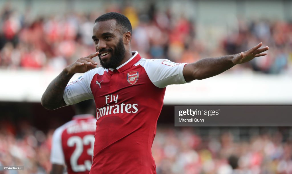 Alexandre Lacazette of Arsenal celebrates scoring a goal during the Emirates Cup match between Arsenal and Sevilla at The Emirates Stadium on July 30, 2017 in London, United Kingdom.
