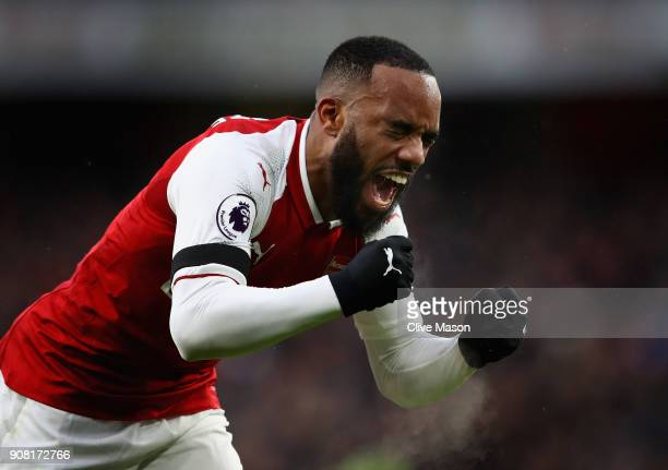 Alexandre Lacazette of Arsenal celebrates scoring his side's fourth goal during the Premier League match between Arsenal and Crystal Palace at...