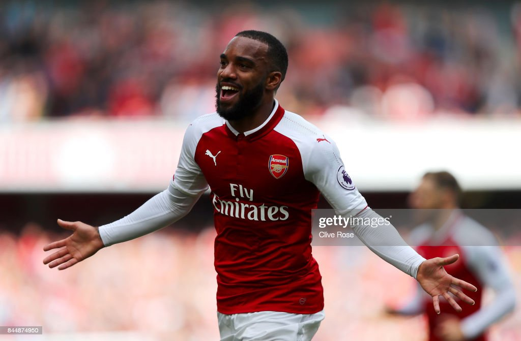 Alexandre Lacazette of Arsenal celebrates scoring his sides second goal during the Premier League match between Arsenal and AFC Bournemouth at Emirates Stadium on September 9, 2017 in London, England.