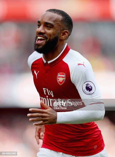 Alexandre Lacazette of Arsenal celebrates scoring his sides second goal during the Premier League match between Arsenal and AFC Bournemouth at...