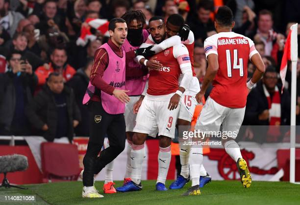 Alexandre Lacazette of Arsenal celebrates scoring the 2nd Arsenal goal with team mates during the UEFA Europa League Semi Final First Leg match...