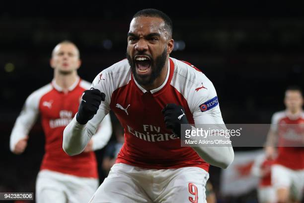 Alexandre Lacazette of Arsenal celebrates scoring their 2nd goal during the UEFA Europa League quarter final leg one match between Arsenal FC and...