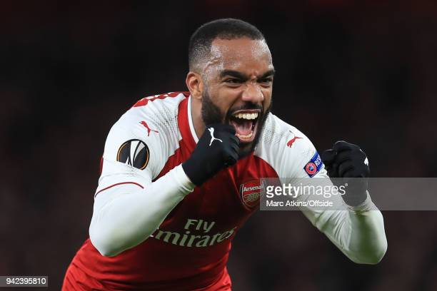 Alexandre Lacazette of Arsenal celebrates scoring their 4th goal during the UEFA Europa League quarter final leg one match between Arsenal FC and...