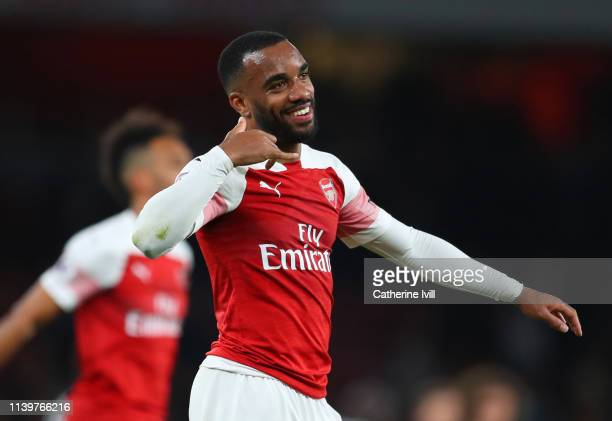 Alexandre Lacazette of Arsenal celebrates victory after the the Premier League match between Arsenal FC and Newcastle United at Emirates Stadium on...