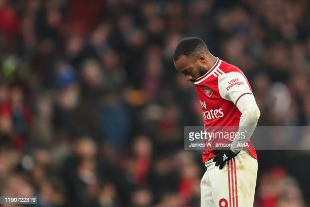 Alexandre Lacazette of Arsenal dejected at full time of the Premier League match between Arsenal FC and Chelsea FC at Emirates Stadium on December 29...