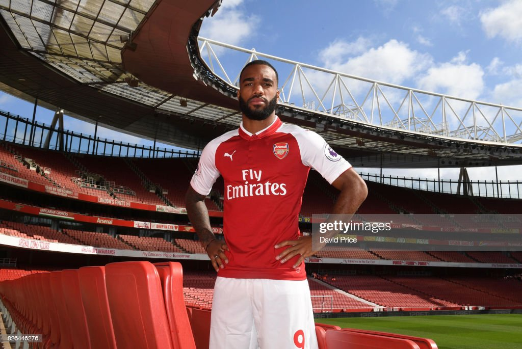 Alexandre Lacazette of Arsenal during the Arsenal 1st team photocall at Emirates Stadium on August 3, 2017 in London, England.
