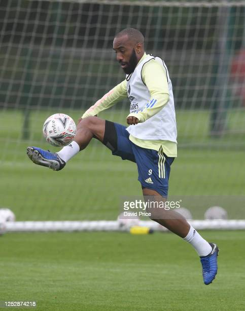 Alexandre Lacazette of Arsenal during the Arsenal 1st team training session at London Colney on June 27, 2020 in St Albans, England.
