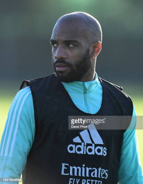Alexandre Lacazette of Arsenal during the Arsenal 1st team training session at London Colney on October 21, 2021 in St Albans, England.