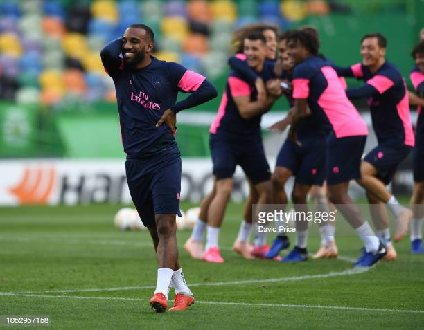 Alexandre Lacazette of Arsenal during the Arsenal Training Session at Estadio Jose Alvalade on October 24 2018 in Lisbon Portugal