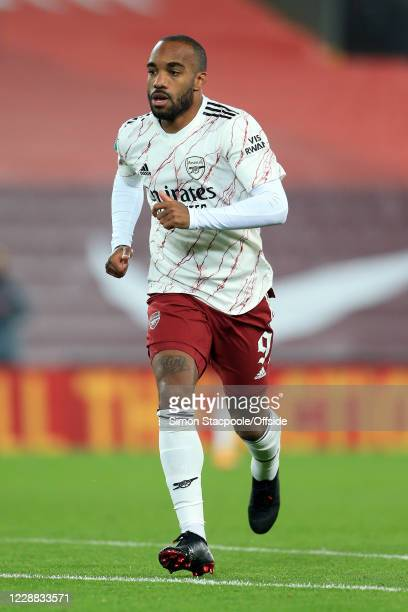 Alexandre Lacazette of Arsenal during the Carabao Cup Fourth Round match between Liverpool and Arsenal at Anfield on October 1 2020 in Liverpool...