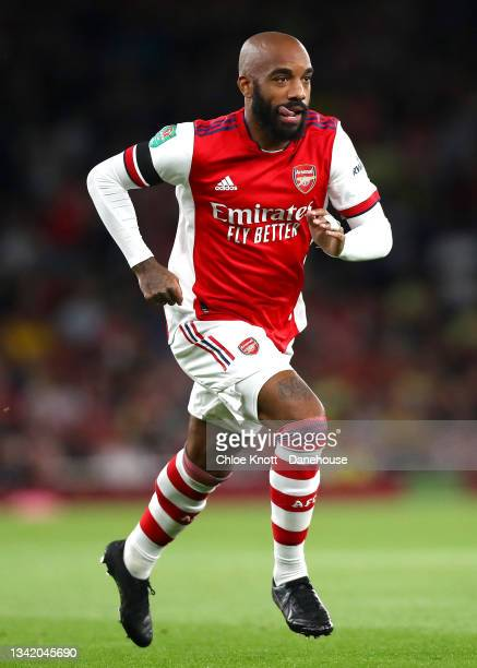 Alexandre Lacazette of Arsenal during the Carabao Cup Third Round match between Arsenal and AFC Wimbledon at Emirates Stadium on September 22, 2021...