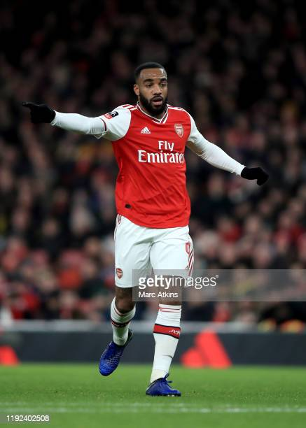 Alexandre Lacazette of Arsenal during the FA Cup Third Round match between Arsenal and Leeds United at Emirates Stadium on January 6 2020 in London...