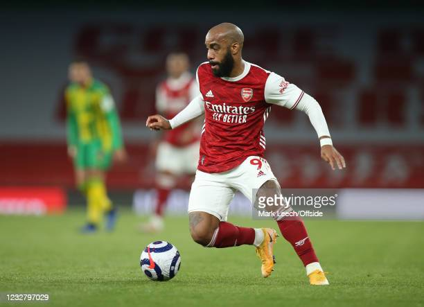 Alexandre Lacazette of Arsenal during the Premier League match between Arsenal and West Bromwich Albion at Emirates Stadium on May 9, 2021 in London,...