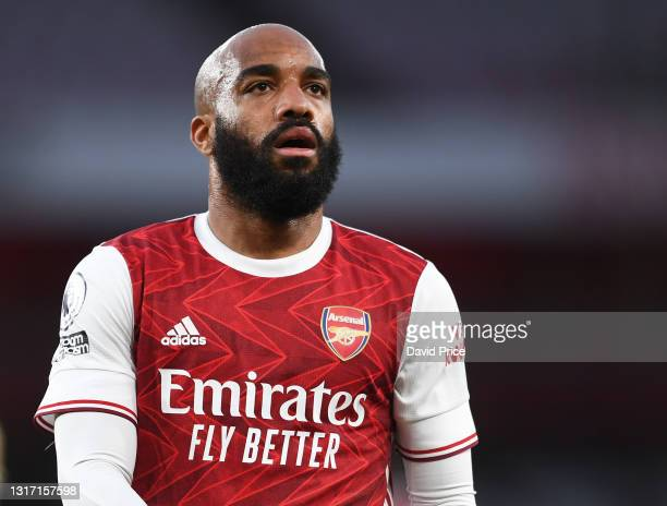 Alexandre Lacazette of Arsenal during the Premier League match between Arsenal and West Bromwich Albion at Emirates Stadium on May 09, 2021 in...