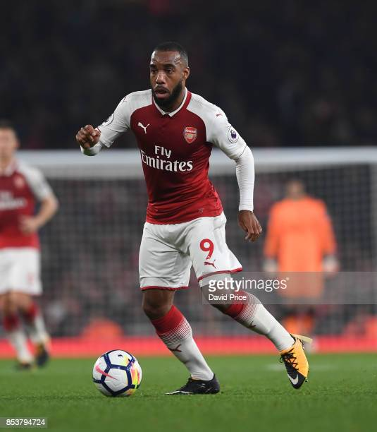 Alexandre Lacazette of Arsenal during the Premier League match between Arsenal and West Bromwich Albion at Emirates Stadium on September 25 2017 in...