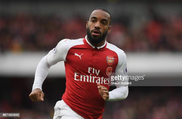 Alexandre Lacazette of Arsenal during the Premier League match between Arsenal and Swansea City at Emirates Stadium on October 28 2017 in London...