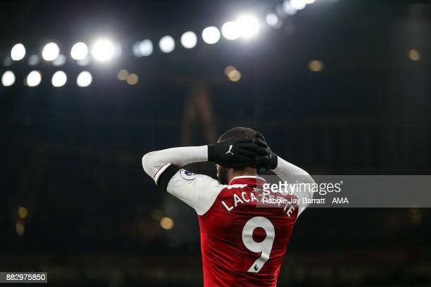 Alexandre Lacazette of Arsenal during the Premier League match between Arsenal and Huddersfield Town at Emirates Stadium on November 28 2017 in...