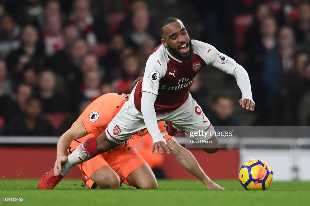 Alexandre Lacazette of Arsenal during the Premier League match between Arsenal and Liverpool at Emirates Stadium on December 22, 2017 in London, England.