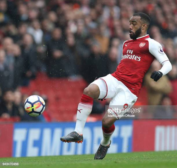Alexandre Lacazette of Arsenal during the Premier League match between Arsenal and Southampton at Emirates Stadium on April 8 2018 in London England
