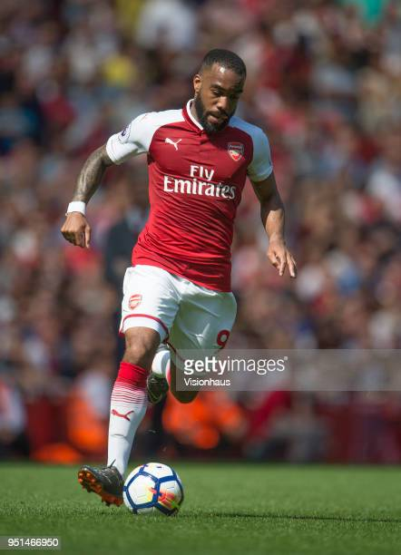 Alexandre Lacazette of Arsenal during the Premier League match between Arsenal and West Ham United at Emirates Stadium on April 22 2018 in London...