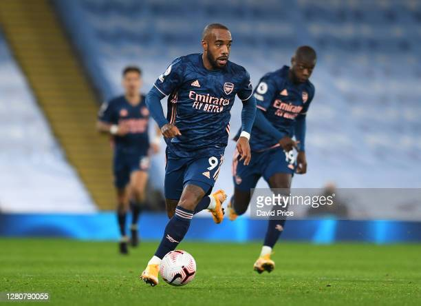 Alexandre Lacazette of Arsenal during the Premier League match between Manchester City and Arsenal at Etihad Stadium on October 17 2020 in Manchester...