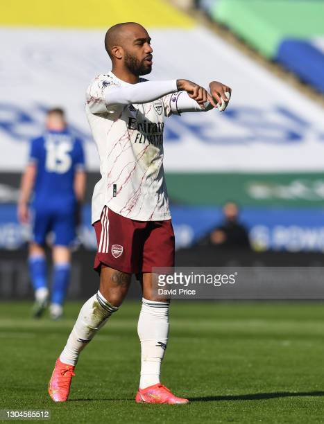 Alexandre Lacazette of Arsenal during the Premier League match between Leicester City and Arsenal at The King Power Stadium on February 28, 2021 in...
