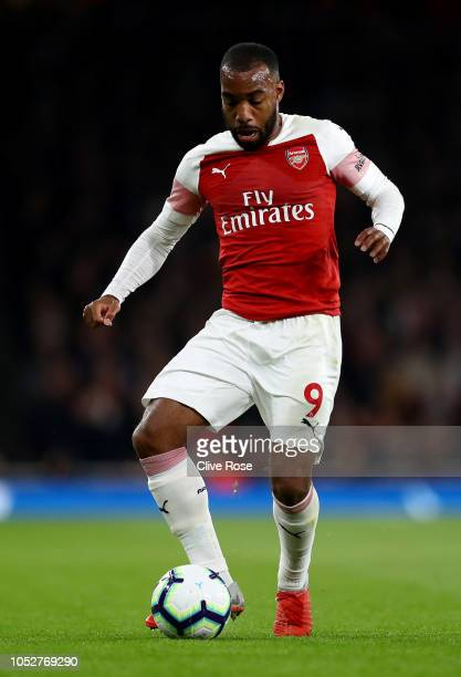 Alexandre Lacazette of Arsenal during the Premier League match between Arsenal FC and Leicester City at Emirates Stadium on October 22 2018 in London...