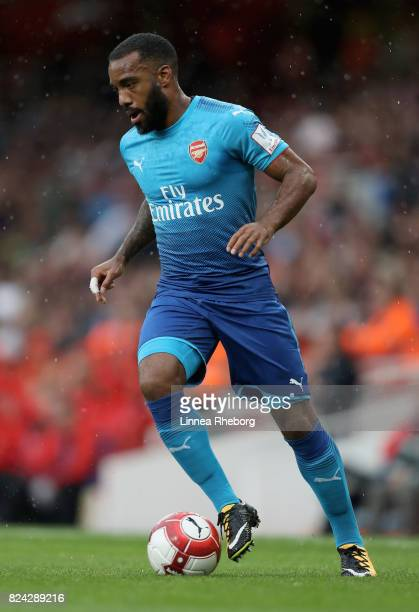 Alexandre Lacazette of Arsenal during the preseason friendly match between Arsenal v SL Benfica during the Emirates Cup at Emirates Stadium on July...