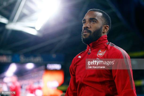 Alexandre Lacazette of Arsenal enters the field of play during the match between the Western Sydney Wanderers and Arsenal FC at ANZ Stadium on July...