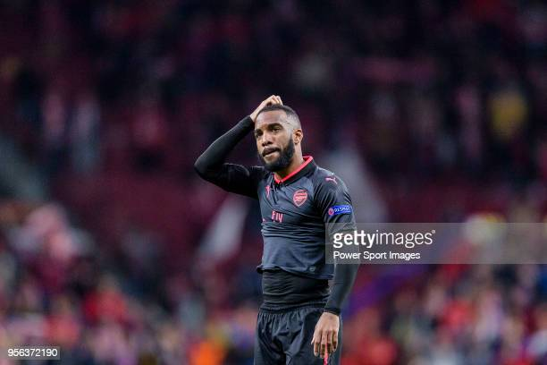 Alexandre Lacazette of Arsenal FC reacts after the UEFA Europa League 201718 semifinals match between Atletico de Madrid and Arsenal FC at Wanda...